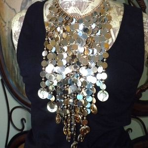 Jewelry - 2 Tone Circles Bib Necklace
